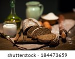 still life photo of bread and... | Shutterstock . vector #184473659
