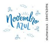 novembro azul. blue november.... | Shutterstock .eps vector #1844763496