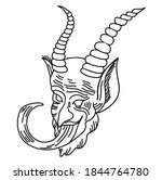 Krampus. Line Art. Scary...