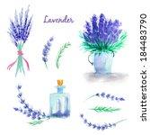 watercolor lavender. set of... | Shutterstock . vector #184483790