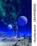 spaceship starting from alien... | Shutterstock . vector #1844908000
