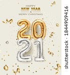 2021 golden decoration holiday... | Shutterstock .eps vector #1844909416