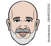 comic avatar head. bald man...