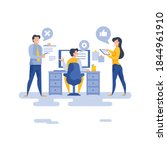 modern team working on project... | Shutterstock .eps vector #1844961910