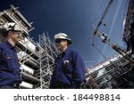 construction workers inside... | Shutterstock . vector #184498814