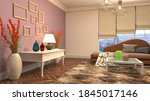 interior of the living room. 3d ...   Shutterstock . vector #1845017146