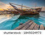 Dhow Boats In Doha Qatar With...