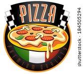 pizza labels. vector... | Shutterstock .eps vector #184505294