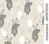 bunnies  hearts  air balloons ... | Shutterstock .eps vector #1845070243