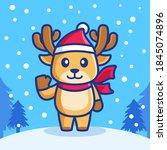 cute reindeer in snowfall... | Shutterstock .eps vector #1845074896