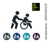 person pushing wheelchair icon... | Shutterstock .eps vector #1845104119
