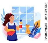 happy woman cleans window.... | Shutterstock .eps vector #1845105430
