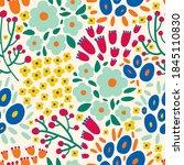 cute floral seamless pattern...   Shutterstock .eps vector #1845110830
