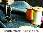 the sewing machine close up. | Shutterstock . vector #184515476