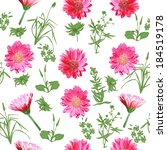 seamless pattern of flowers and ... | Shutterstock .eps vector #184519178
