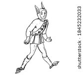 Funny Medieval Man In Jester...