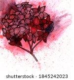 line flower on watercolor...   Shutterstock . vector #1845242023