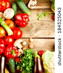 healthy organic vegetables on a ... | Shutterstock . vector #184525043