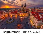 Sunset View Of Prague Old Town...