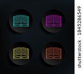 open book sketch dark badge...