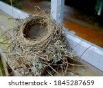 Small photo of An empty bird's nest on an old windowsill. Cape Rosier, ME.