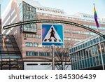 sign pedestrian crossing at... | Shutterstock . vector #1845306439