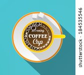 white cup of coffee concept.... | Shutterstock .eps vector #184535546