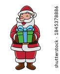 santa claus holding gift box | Shutterstock .eps vector #1845378886