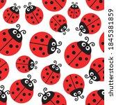 Ladybug Pattern  Vector...