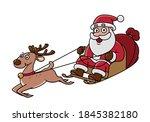 vector   santa claus on his... | Shutterstock .eps vector #1845382180