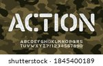 action alphabet font. stencil...   Shutterstock .eps vector #1845400189
