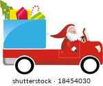 Santa Claus driving gift truck - stock vector