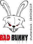 bad bunny  andry rabbit with... | Shutterstock .eps vector #1845428119