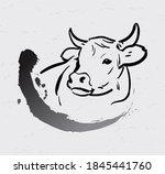 bull paintbrush in traditional... | Shutterstock .eps vector #1845441760