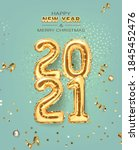 2021 golden decoration holiday... | Shutterstock .eps vector #1845452476