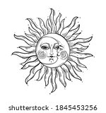 bohemian hand drawing  esoteric ... | Shutterstock .eps vector #1845453256
