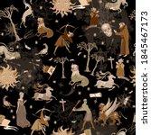 medieval astrology seamless...   Shutterstock .eps vector #1845467173