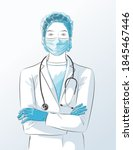 doctor with face mask  medical...   Shutterstock .eps vector #1845467446
