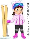 Cute Little Girl Skiing In...