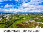 Aerial view, sugar cane fields, Black River region, behind the villages of Vacoas-Phoenix and Quatre Bornes, Mauritius, Africa