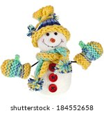 happy snowman in knitted hat... | Shutterstock . vector #184552658