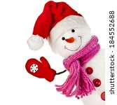 Happy Snowman In Knitted Hat...