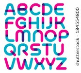 Vector font with round strokes and mixed colours. Multiply blend mode.