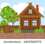 wooden village house. vector... | Shutterstock .eps vector #1845580570