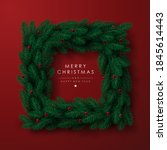 square shaped christmas wreath... | Shutterstock .eps vector #1845614443