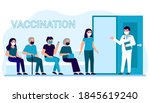 vaccination of people in clinic ... | Shutterstock .eps vector #1845619240