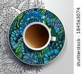 vector illustration with a cup... | Shutterstock .eps vector #184563074