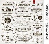 retro elements for summer... | Shutterstock .eps vector #184565306