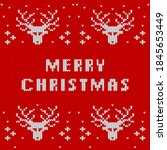 christmas and new year knitted...   Shutterstock .eps vector #1845653449
