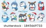 cute doodle penguins set for... | Shutterstock .eps vector #1845669733
